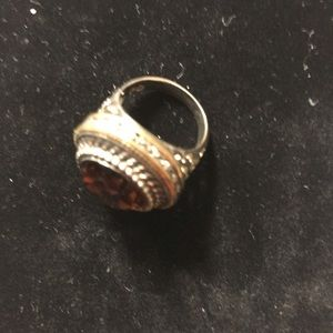 Fab Brown stone ring with gold accents
